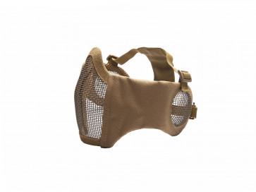 Metall mesh Maske mit cheek pads und Ohrabdeckung, TAN.