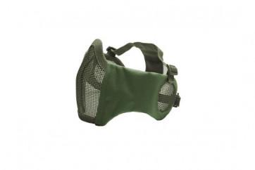 Metall mesh Maske mit cheek pads und Ohrabdeckung, OD Green.