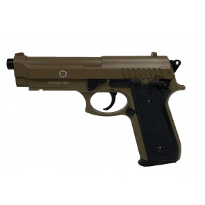 Softair/airsoft Pistole PT92 in Tan mit Metallschlitten.