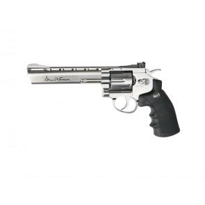 "Softair CO2 revolver Dan Wesson 6"" silver plated."
