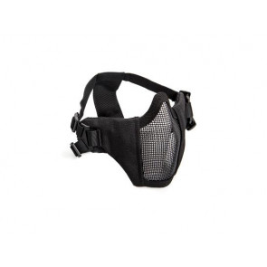 Black metal mesh mask with cheek pads