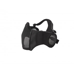 Black Metal mesh mask with cheek pads and ear protection.