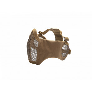 Metal mesh mask with cheek pads and ear protection, TAN
