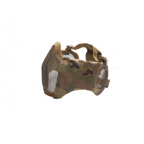 Multicam Metal mesh mask with cheek pads and ear protection.
