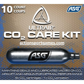 ULTRAIR 12 gr. Co2 cartridge, 10 pcs (9 regular & 1 lubrication).