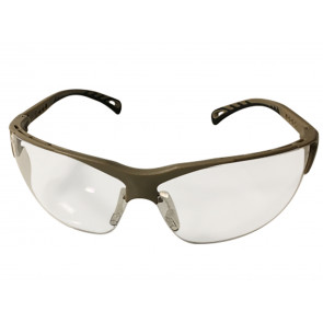 Clear lens protective glasses w. adjustable temples & tan frame