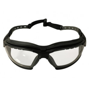 Clear lens protective glasses, Anti-Fog, w. adjustable temples and black frame.