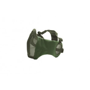 Metal mesh mask with cheek pads and ear protection, OD Green.