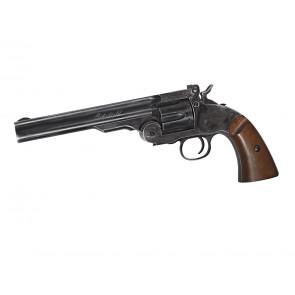 "Airsoft Schofield 6"" Revolver, Aging Black, CO2."