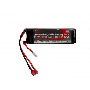 Airsoft Li-PO battery, 11,1V-2200mAh-30C Dean (T-Plug)