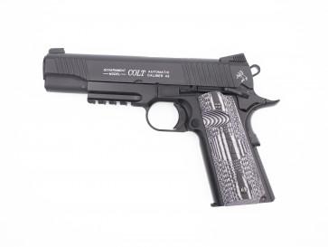 Softgun CO2 pistol Colt 1911 Combat Unit Rail Gun sort , blowback.