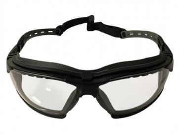 Tactical sikkerhedsbrille med anti-dug klar glas og justerbar arme.