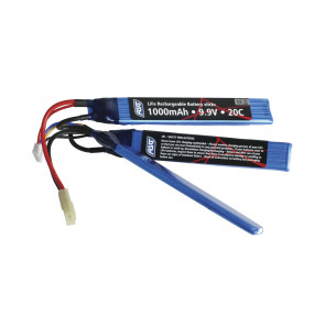 Airsoft/softgun Batteri LI-FE 9,9V - 1000mAh - 20C, 3 delt.