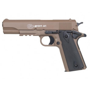 Softgun pistol Colt 1911 A1 i Tan/sort med metalslæde.