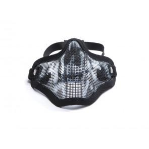 Sort halvmaske i metal med dødningehoved