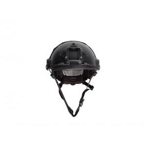 Strike Systems Fast hjelm med rail og velcro – Sort.