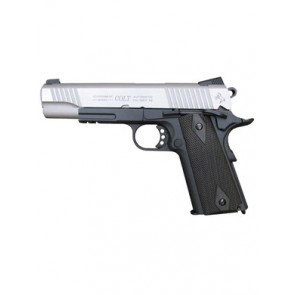 Softgun CO2 pistol Colt 1911 Rail Gun sort Dual Tone, blowback.