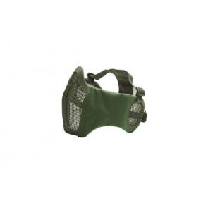 Halvmaske i metal med bløde sider og øre beskyttelse, OD Grøn.