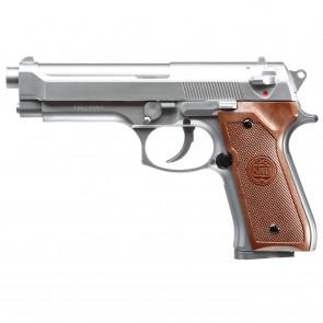 Softgun manuel pistol M9 fra KWC, Sølv