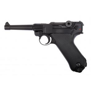 Softgun/Airsoft WE GBB Pistol P08, fuld metal, Sort